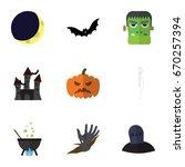 flat icon halloween set of tomb ... | Shutterstock .eps vector #670257394