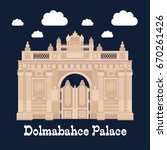 entrance of the dolmabahce... | Shutterstock .eps vector #670261426