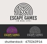 escape room logo. vector badge... | Shutterstock .eps vector #670263916