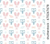 cats and rabbits vector... | Shutterstock .eps vector #670267678
