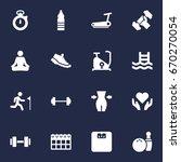 set of 16 training icons set... | Shutterstock .eps vector #670270054