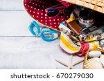 summer time  hot season and... | Shutterstock . vector #670279030