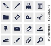 set of 16 stationery icons set... | Shutterstock .eps vector #670283149