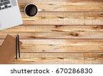 modern workspace with laptop ... | Shutterstock . vector #670286830