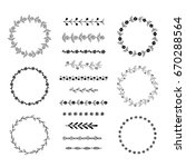 set of round hand drawn floral... | Shutterstock .eps vector #670288564