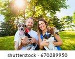 portrait of happy romantic... | Shutterstock . vector #670289950