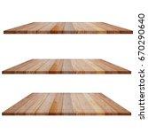 wooden shelves isolated on white | Shutterstock . vector #670290640