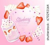 strawberry milkshake in... | Shutterstock .eps vector #670292164