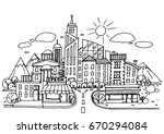 hand drawn city sketch for your ... | Shutterstock .eps vector #670294084