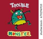funny trouble maker monster....   Shutterstock .eps vector #670296910