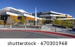 Small photo of CANMORE, ALBERTA, CANADA - SEPTEMBER 20, 2014: Elevation Place Recreation Center opened in April 2013. This modern facility offers gym, climbing wall, lap pool as well as cafe and library.