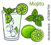glass of mojito  ice cubes ...   Shutterstock .eps vector #670304704