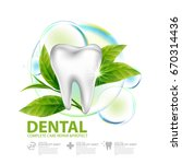 dental care with green tea leaf ... | Shutterstock .eps vector #670314436