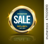 sale banner gold circle for... | Shutterstock .eps vector #670320850