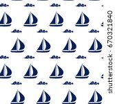 blue sailing boats with waves... | Shutterstock .eps vector #670321840