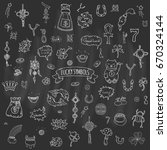hand drawn doodle lucky symbols ... | Shutterstock .eps vector #670324144