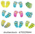 slippers for the beach  slates  ... | Shutterstock .eps vector #670329844