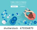 fitness woman workout in gym... | Shutterstock .eps vector #670336870