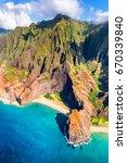 hawaii beach  kauai. na pali... | Shutterstock . vector #670339840