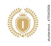 letter i with shield crown... | Shutterstock .eps vector #670342006