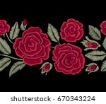 red roses and green leaves.... | Shutterstock .eps vector #670343224