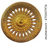 dharma wheel on isolate and... | Shutterstock . vector #670347976