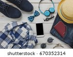 top view accessories to travel... | Shutterstock . vector #670352314
