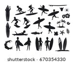 surfers silhouettes set. men... | Shutterstock .eps vector #670354330