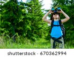 ten year old boy go hiking with ... | Shutterstock . vector #670362994