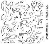 set of handmade arrows  | Shutterstock .eps vector #670363123