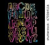 alphabet poster  dry brush ink... | Shutterstock .eps vector #670364116