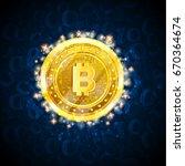 golden bit coin in the center... | Shutterstock .eps vector #670364674