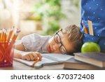 back to school  happy cute... | Shutterstock . vector #670372408