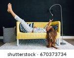 home portrait of pre teen child ... | Shutterstock . vector #670373734