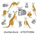 set of kangaroo and koala in... | Shutterstock .eps vector #670374586