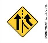us road warning sign  merging | Shutterstock .eps vector #670377646