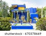 the beautiful majorelle garden... | Shutterstock . vector #670378669