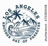 hand drawn los angeles vector... | Shutterstock .eps vector #670383448