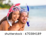 snorkel beach summer happy... | Shutterstock . vector #670384189
