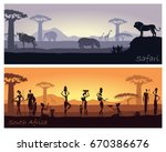 landscape of africa with the... | Shutterstock .eps vector #670386676