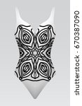 swimsuit with mandala ornament. ... | Shutterstock .eps vector #670387090