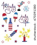 4th of july icons | Shutterstock .eps vector #670391380