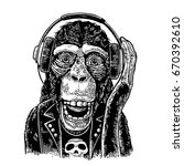 monkey rocker in headphones and ... | Shutterstock .eps vector #670392610
