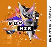 trendy vector summer cards... | Shutterstock .eps vector #670396189