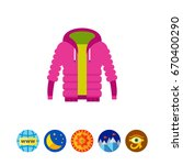 purple unisex warm down jacket... | Shutterstock .eps vector #670400290