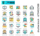 flat conceptual icons pack seo...   Shutterstock .eps vector #670402588