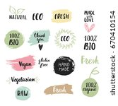 collection of hand drawn eco ... | Shutterstock .eps vector #670410154