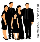 family on cemetery or graveyard ... | Shutterstock .eps vector #670414540