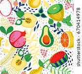 seamless pattern with tropical... | Shutterstock .eps vector #670414978