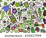 vector illustration of happy... | Shutterstock .eps vector #670417999